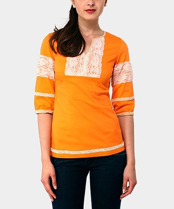 Orange Adrianne Three-Quarter Sleeve Top