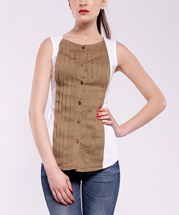 White & Beige Salt Sleeveless Top