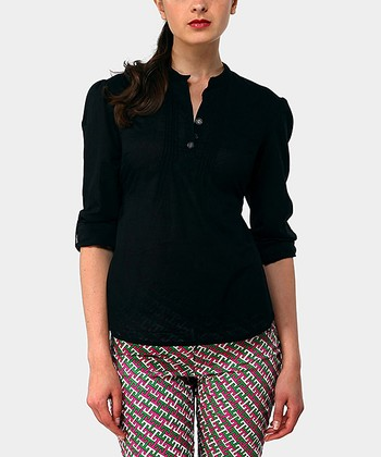 Black Harrison Three-Quarter Sleeve Top