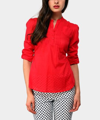 Red Harrison Three-Quarter Sleeve Top