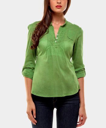 Green Harrison Three-Quarter Sleeve Top