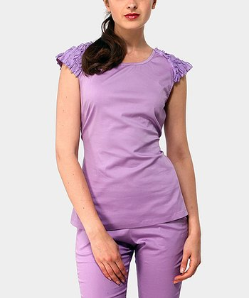 Lilac Diamond Cap-Sleeve Top