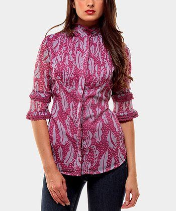 Lilac Sacha Three-Quarter Sleeve Button-Up