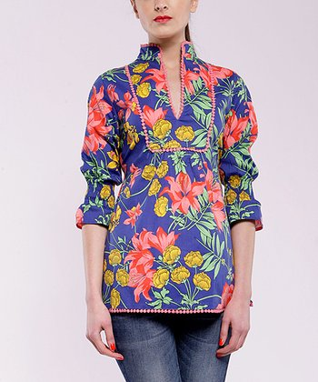 Blue & Red Floral Three-Quarter Sleeve Top