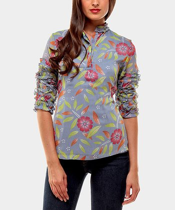 Blue Moon Three-Quarter Sleeve Top