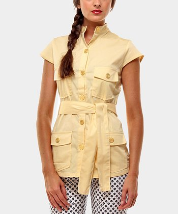 Yellow Portobello Button-Up