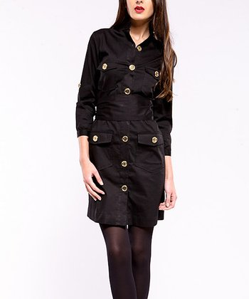 Black Portobello Three-Quarter Sleeve Dress