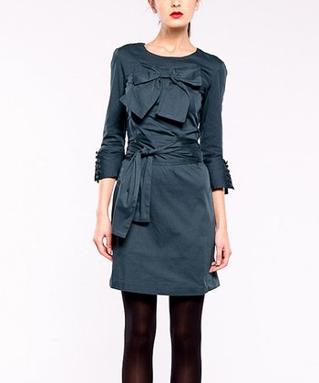 Navy Bobby Three-Quarter Sleeve Dress