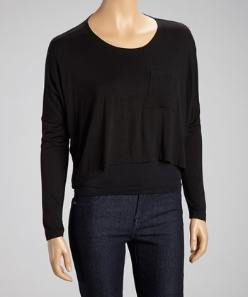 Black Pocket Cropped Tee