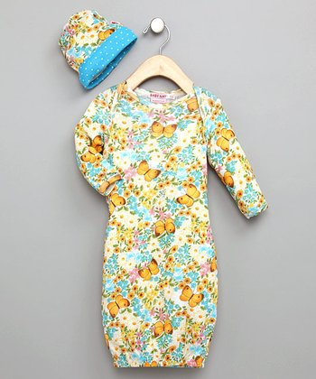 Vintage Butterfly Newborn Gown with Hat - Infant
