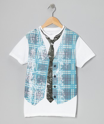 White Faux Plaid Vest Tee - Toddler & Boys