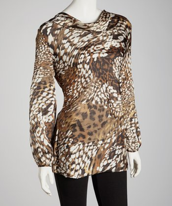 Brown Leopard Silk Top