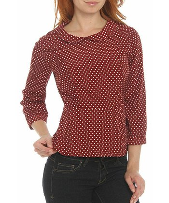 Burgundy Polka Dot Top