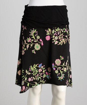 Black Floral Skirt - Women