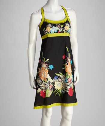 Black & Lime Green Blossom Dress