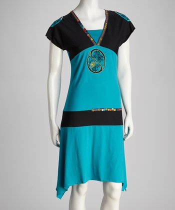 Turquoise & Black Sidetail Dress - Women