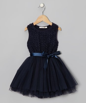 Navy Rosette Tutu Dress - Girls
