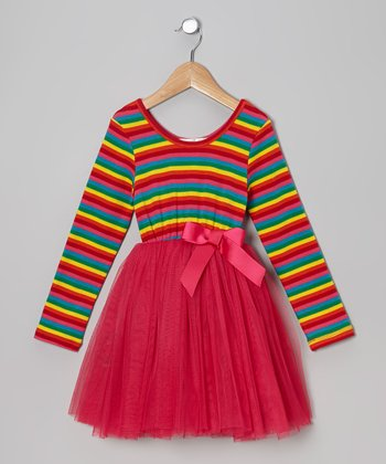Pink Stripe Tulle A-Line Dress - Toddler & Girls