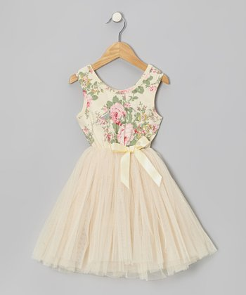 Cream Floral Tulle A-Line Dress - Toddler & Girls