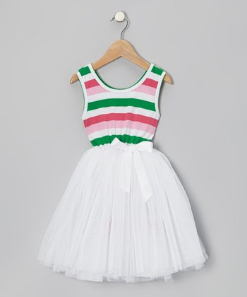 White Stripe Tulle A-Line Dress - Toddler & Girls