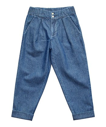 Blue Denim Baggy Chinos - Boys