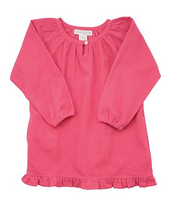 Pink Corduroy Ruffle Dress - Toddler & Girls