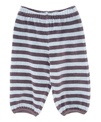 Coffee Stripe Velour Pants - Infant