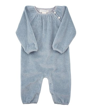 Dusty Blue Velour Button Shoulder Playsuit - Infant
