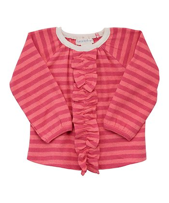 Pink & Coral Stripe Raglan Frill Top - Infant