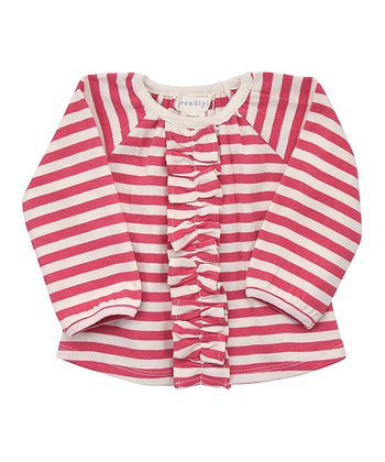 Pink & Ecru Stripe Frill Organic Raglan Top - Infant