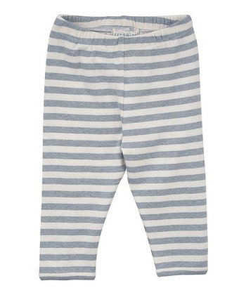 Blue & Ecru Stripe Leggings - Infant
