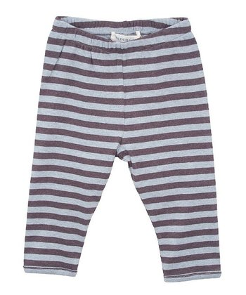 Coffee & Blue Stripe Leggings - Infant
