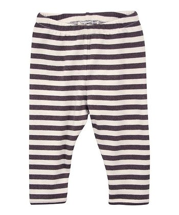 Coffee & Ecru Stripe Organic Leggings - Infant