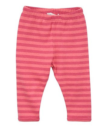 Pink & Coral Stripe Leggings - Infant