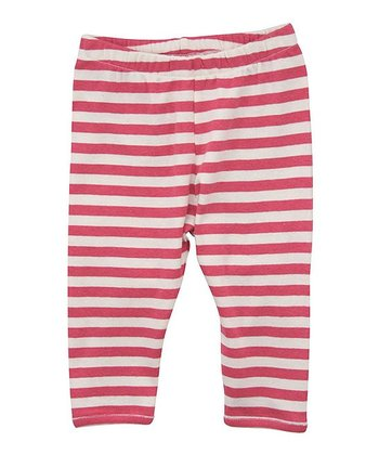 Pink & Ecru Stripe Leggings - Infant