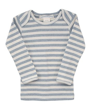 Blue & Ecru Stripe Lap Neck Long Sleeve Tee - Infant