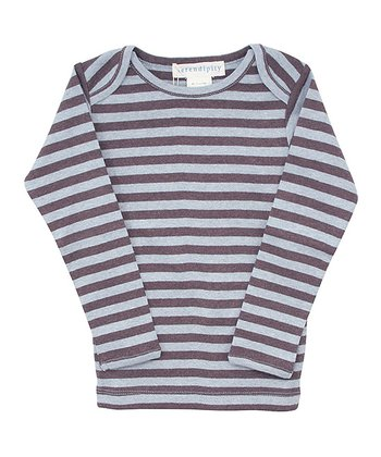 Coffee & Blue Stripe Lap Neck Long Sleeve Tee - Infant