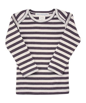 Coffee & Ecru Stripe Lap Neck Long Sleeve Tee - Infant