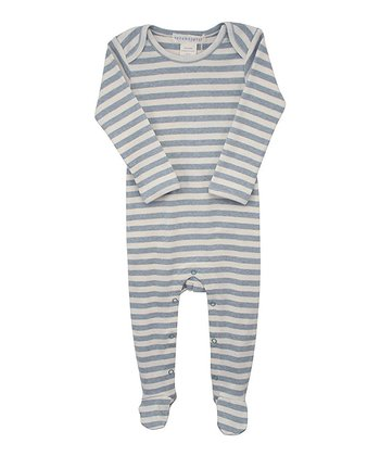 Blue & Ecru Stripe Footie - Infant
