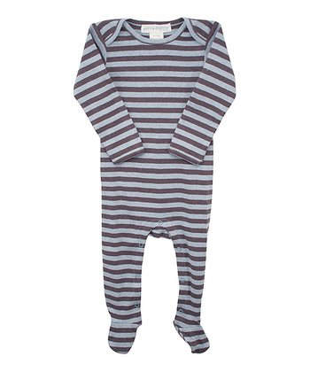 Coffee & Blue Stripe Footie - Infant