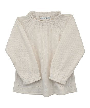 Ecru Gathered Neck Top - Infant
