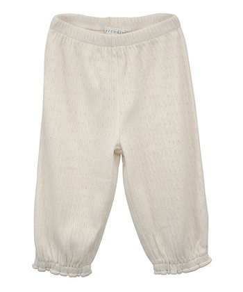 Ecru Gathered Ankle Pants - Infant