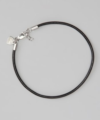 Sterling Silver & Black 8.5'' Leather Cord Bracelet