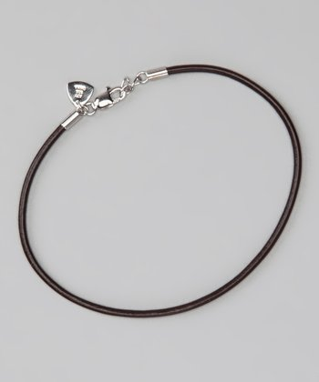 Sterling Silver & Brown 8.5'' Leather Cord Bracelet