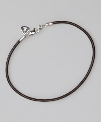 Sterling Silver & Brown 7.5'' Leather Cord Bracelet