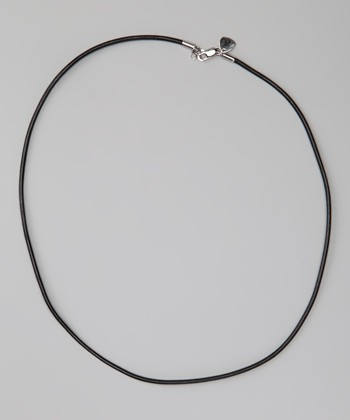 Sterling Silver & Black 20'' Leather Necklace