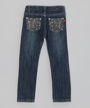 Medium Wash Rhinestone Wave Jeans - Girls