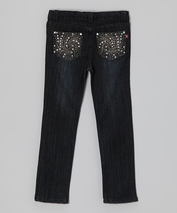 Black Rhinestone Wave Jeans - Girls