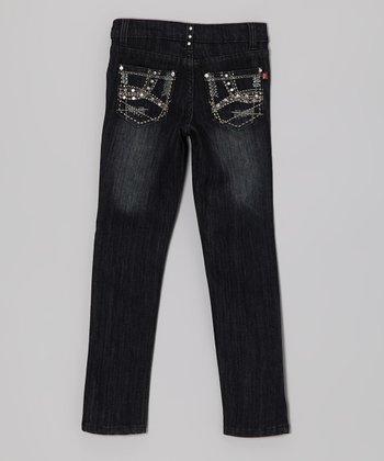 Black Rhinestone Crisscross Jeans - Girls