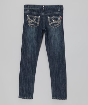Medium Wash Rhinestone Crisscross Jeans - Girls
